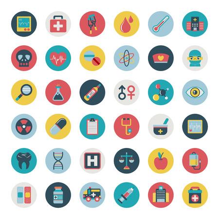 hospital dibujo animado: Conjunto de iconos médicos planas