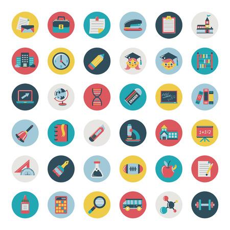 colleges: Conjunto de iconos de educaci�n plano retro, de vuelta a la escuela