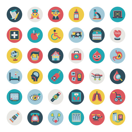vaccination: Set of flat Medical icons