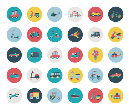 avion caricatura: Conjunto de iconos de transporte planas