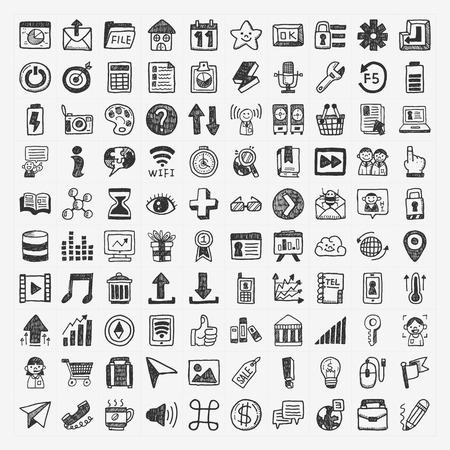 social gathering: 100 Doodle Web Icons