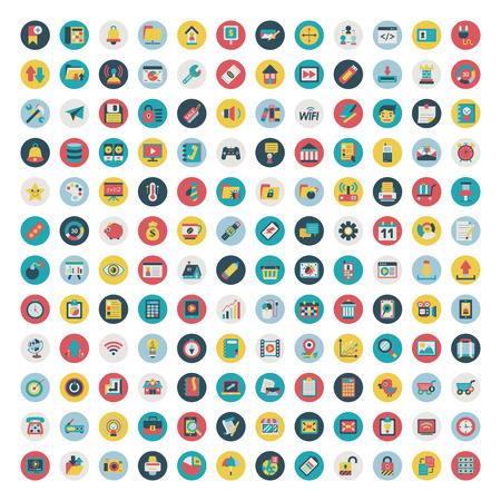 Set of vector network and social media icons  Flat icon