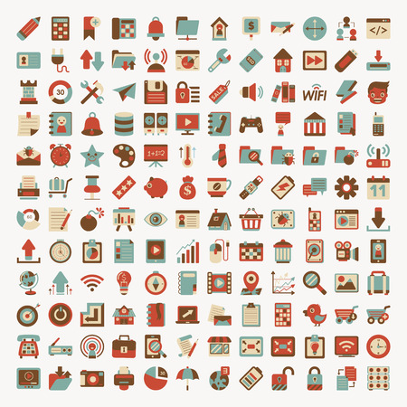 planos: Red Retro plana icon set