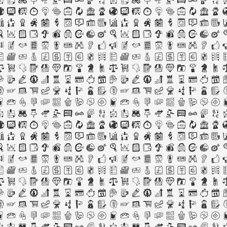 seamless 100 doodle business pattern Vector
