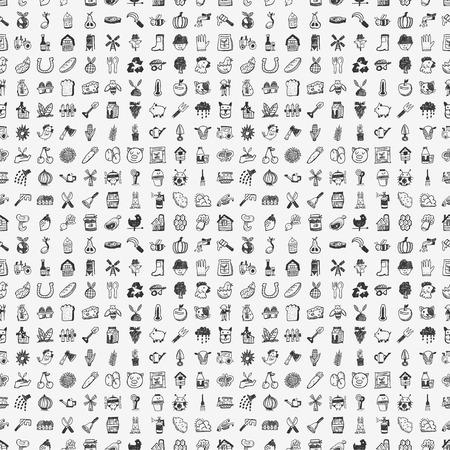 seamless doodle farming pattern Stock Illustratie