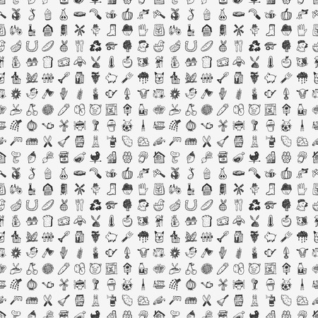 seamless doodle farming pattern Ilustração