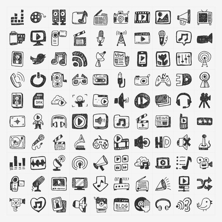 doodle media icons set Vector