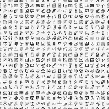 seamless doodle communication pattern 向量圖像