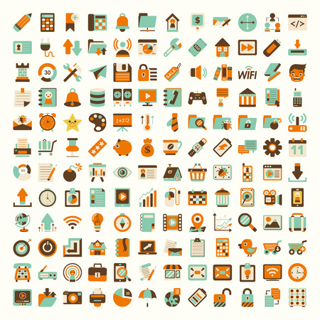 retro phone: Retro flat network icon set