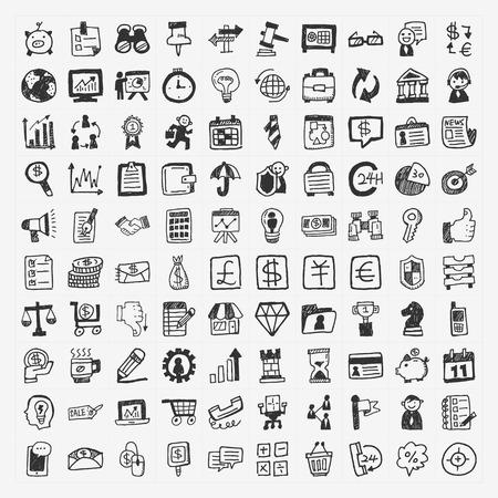 100 doodle business icon Stock Illustratie