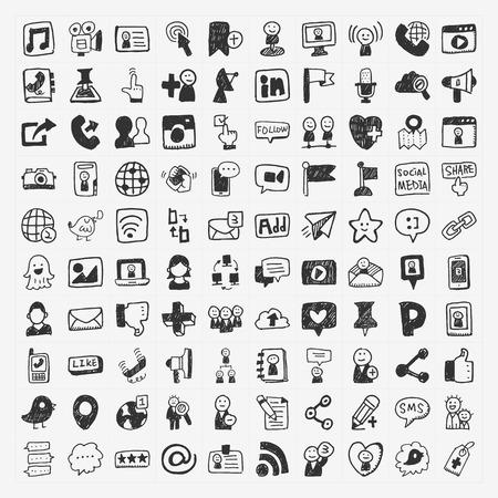 doodle Social media elements Stock Illustratie