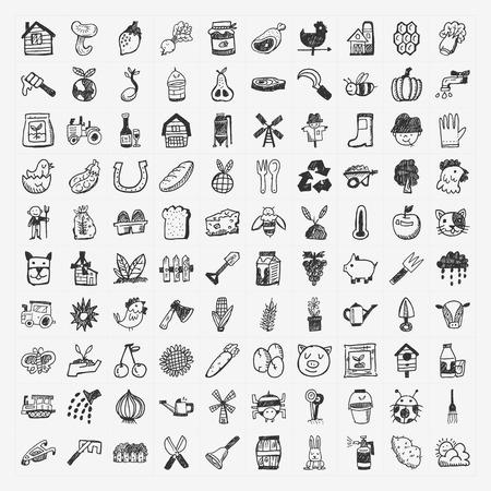 doodle farming icon set Vector