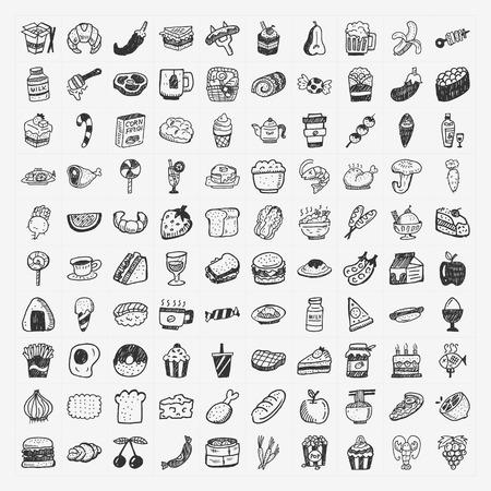 落書き食品アイコンを設定 写真素材 - 24391379
