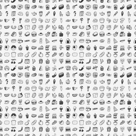 naadloze doodle voedselpatroon Stock Illustratie
