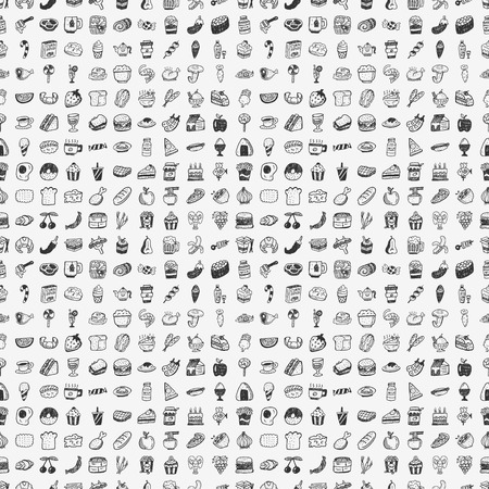 seamless doodle food pattern Vector