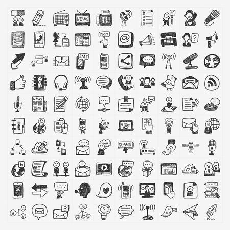 iconos de la comunicación Doodle conjunto Ilustración de vector