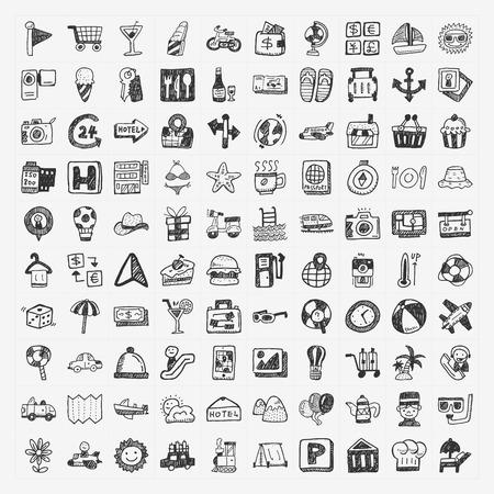 camp: doodle travel icons set