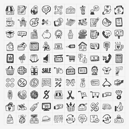 e commerce icon: doodle shopping icons set Illustration