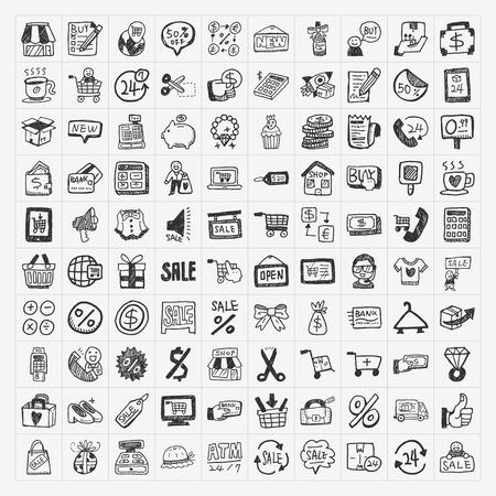 doodle shopping icons set Stock Illustratie