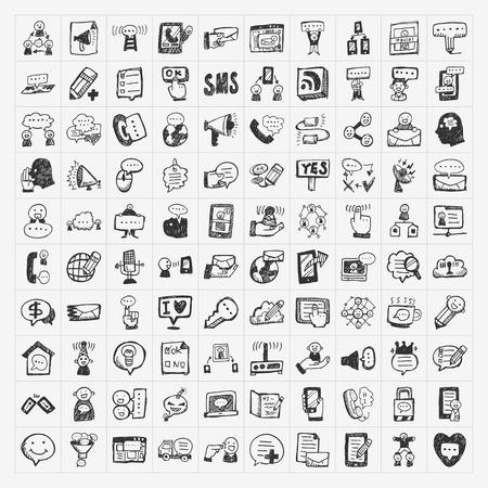doodle communication icons set Stock Illustratie