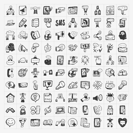 doodle communication icons set Illustration