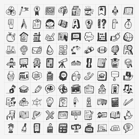 Back to School doodle hand-draw icon set