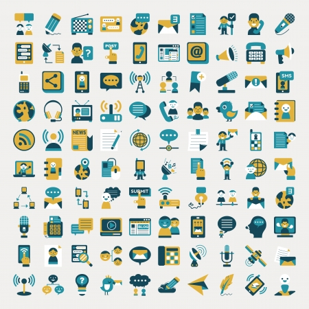 Retro flat communication icons set Vector