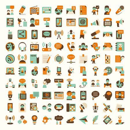 communication: Icônes de la communication Rétro plats fixés Illustration
