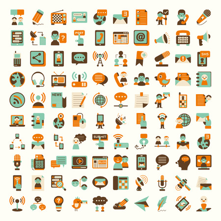 comunicación: Iconos de la comunicación Retro planas establecen Vectores