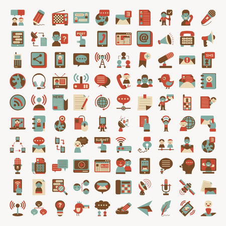 Retro flat communication icons set Illustration