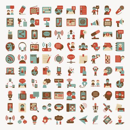 Retro flat communication icons set Stock Illustratie
