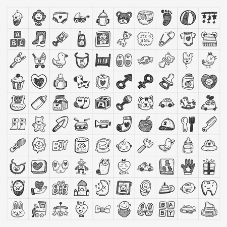 black baby girl: doodle baby icon sets