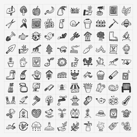 hand trowels: doodle gardening icon