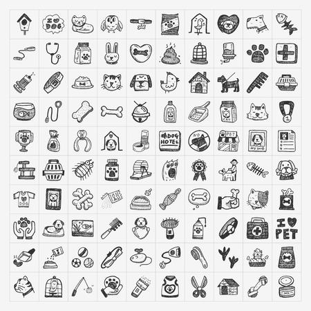 Doodle animali da compagnia icone set Archivio Fotografico - 26078303
