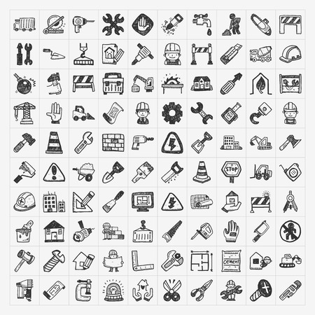doodle construction icons Vector
