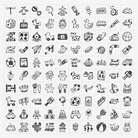 doodle toy icons Stock Illustratie