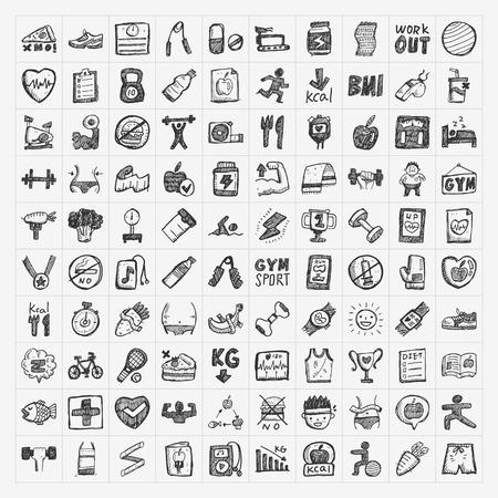 fitness: Ícones aptidão Doodle