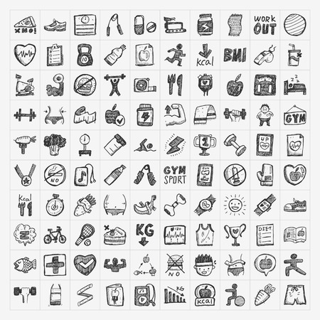 Iconos de la aptitud del Doodle Ilustración de vector