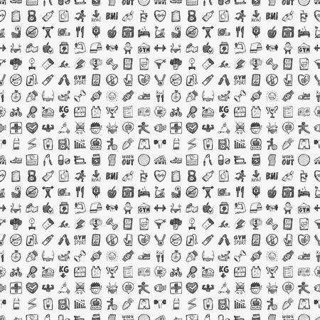 シームレスな落書きフィットネス パターン  イラスト・ベクター素材