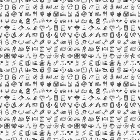 seamless doodle fitness pattern Vector