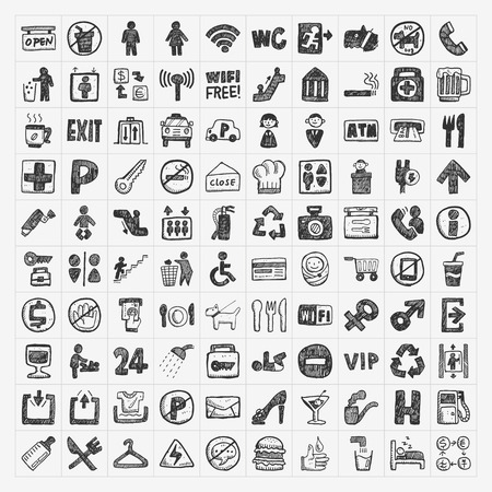 doodle public sign icon Vector
