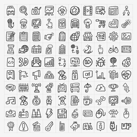 doodle web icons set Vector