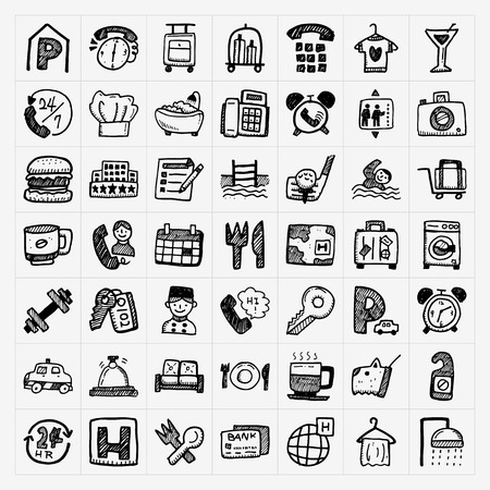 hotel icons: doodle hotel icons set