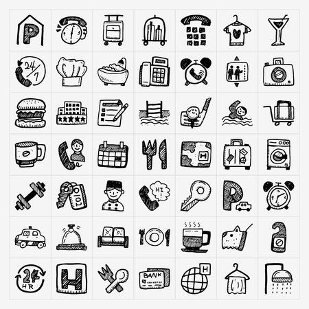 Iconos del hotel Doodle conjunto Foto de archivo - 26964513