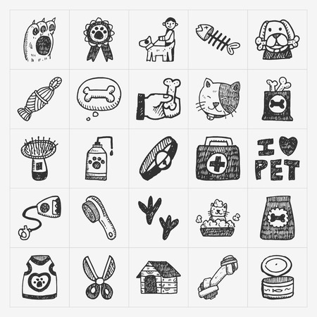 house sketch: doodle pet icons set Illustration
