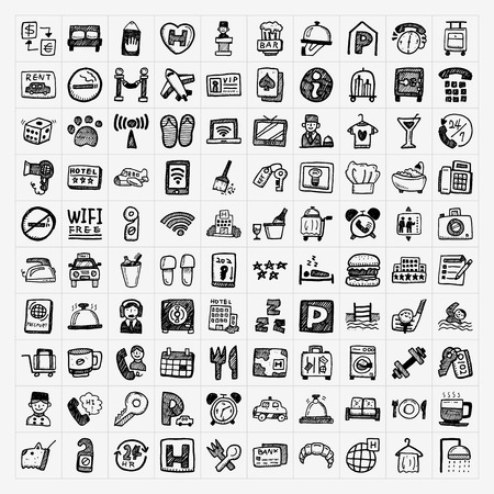 reception hotel: doodle hotel icons set