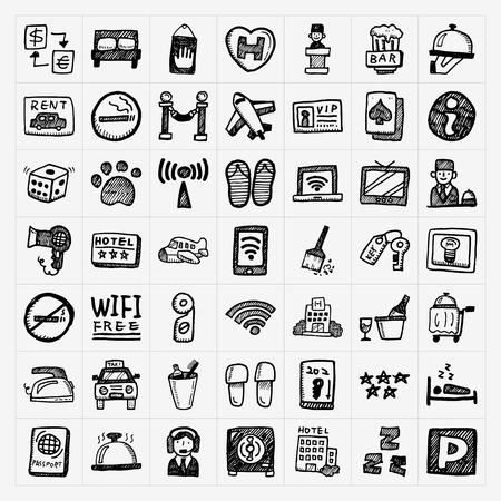 gym room: iconos del hotel Doodle conjunto Vectores
