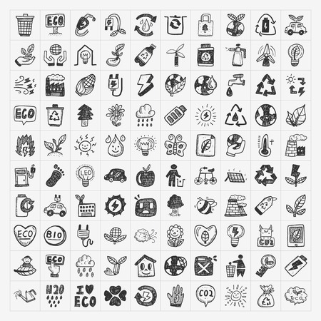 doodle eco icons Vector