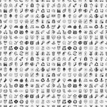seamless doodle eco pattern Vectores