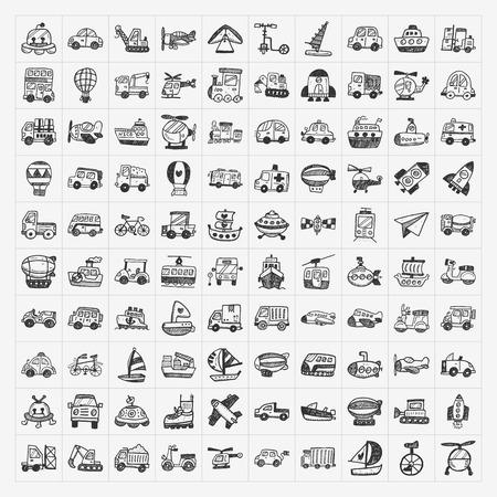doodle transport icons set Stock Illustratie